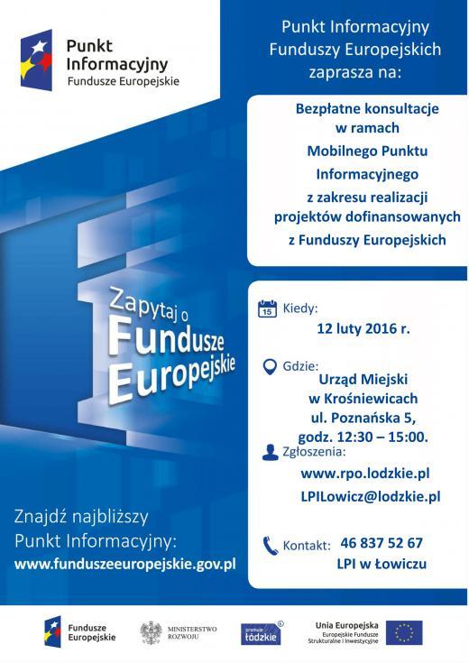 Plakat punkt informacyjny funduszy europejskich